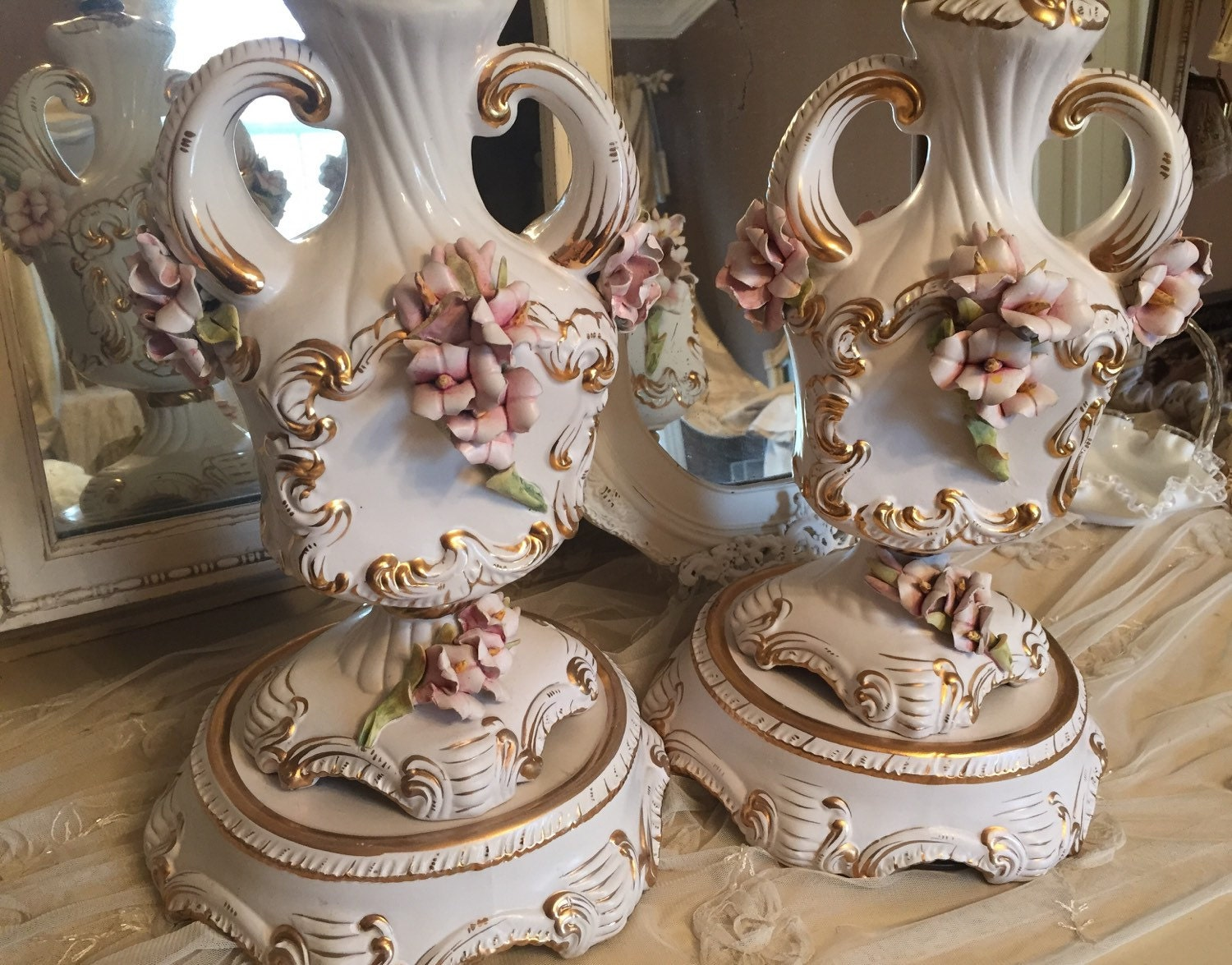 Vintage Set Of Two Exquisite Capodimonte By Galdi French Table