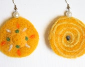 Needlefelted whimsical earrings, primitive tribal sun pattern, cocktail decor, yellow and green, waldorf design, felt jewelry, teen earrings