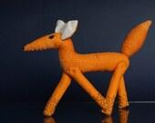 Hand Sewn Yellow Fox , Animal Toy, Totem Fox, Orange fox doll, Red Fox, home decor, house warming gift, posable fox, woodland gift, red foxy