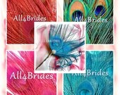 Peacock feathers hair pin, turquoise, red, pink or natural feathers. bridal or bridesmaids wedding hair accessories