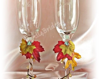 Fall leaves champagne wedding glasses, rustic wedding accessories, woodland wedding toasting glasses