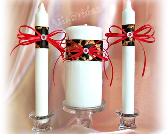 Leopard print wedding unity candle set, cheetah print and red wedding ceremony candles set