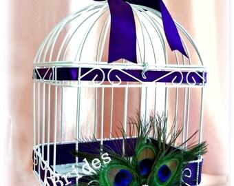 Peacock wedding birdcage card holder, peacock feather wedding card box