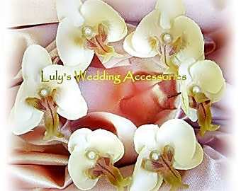 Ivory Orchid Hair Pins, Bridal or Bridesmaids Hair Accessories, Phalaenopsis Orchid Hair Flowers