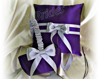 Purple and grey wedding flower girl basket and ring bearer pillow, wedding decorations, pillow and basket set