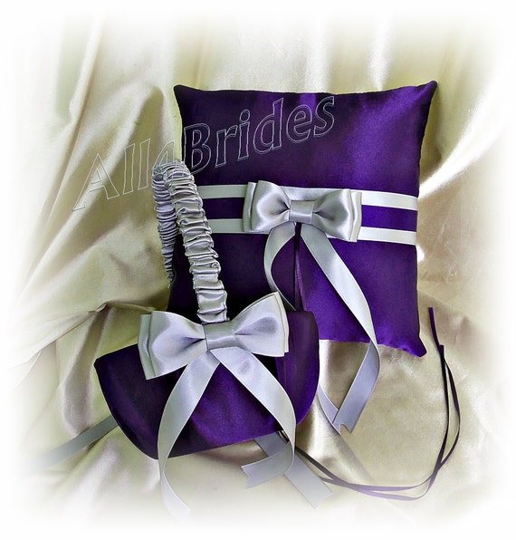 Flower Girl Basket Gray : Grape purple and gray wedding flower girl basket ring