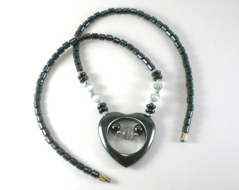 Hematite Heart  Necklace -  Black White Love Vintage Valentine Jewelry
