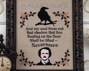 Edgar Allen Poe Nevermore Raven And My Soul That Shadow That Lies Floating Frameable Embroidery