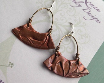 OOAK copper clay PMC BoHo earrings