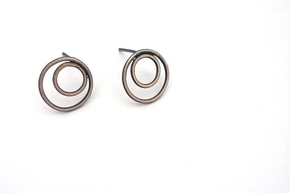 Stud Earrings, Sterling Silver Post Earrings Inspired by Eyelet Lace, Oxidized Silver Earrings, Silver Studs, Bullseye Circle Earrings