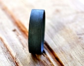 Men's Sterling Silver Wedding Ring. (Oxidized/Oxidised, Black, Grey) Wedding Band. 6mm. Wide Flat Ring. Custom Size. Eco.