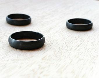 Black Wedding Ring. Men's Wedding Ring. Sterling Silver. Oxidised. Oxidized. Grey/gray. Gunmetal. Minimalist. Modern. Wedding Band.