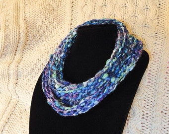 Ultra Soft Infinity Scarf, Cowl, Neck Warmer, Multi-textured, Purple/Lavender, Blues, Aqua