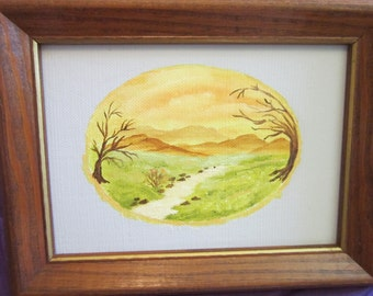 Original Painting Small Landscape Lovely Creekside Scene w/ Mountains, Grassy Banks, Trees, Rocks (Framed)