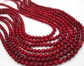 Red Coral Beads, Round Red Coral, 5.5mm Round, SKU 4192A