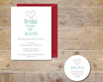 Bridal Shower Invitations . Bridal Shower Invites . Heart Bridal Shower Invitations - Simple Heart
