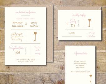 Wedding Invitations . Wedding Invites . Vintage Wedding Invitations . Key . Skeleton Key - Key To My Heart