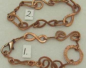 Copper Chain and Link Bracelets, Recycled Copper Bracelets.Unique one of a kind wristlet. ONSALE.