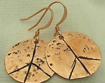 Peace Sign Earrings - Recycled Copper Earrings. Pure Copper Earrings.