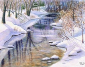 Winter Creek Watercolor Painting Print by Cathy Hillegas, 16x21.5, watercolor print, landscape art, watercolor landscape, white blue brown