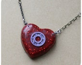 Roller Derby Bearing Necklace - heart shaped hand cast pendant