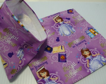 2pc Reusable Sandwich and Snack Bag Princess Sofia
