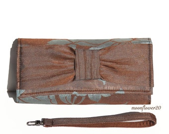 Steel Blue and Brown Hibiscus Evening Wallet, Wristlet, Clutch with Bow -  Removable Strap - iPhone - Multiple Cell Phones Case