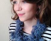 Blue & Grey Fuzzy Scarf