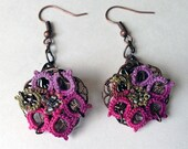 Hand Tatted Warm Verigated Lace Flower Filigree Trumpet Earring