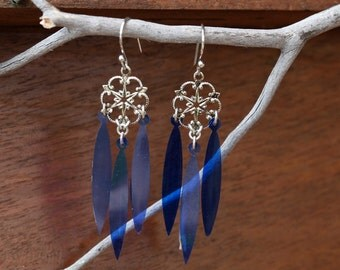 Holiday chandelier earrings, jewel tone sequins, cobalt blue feather style