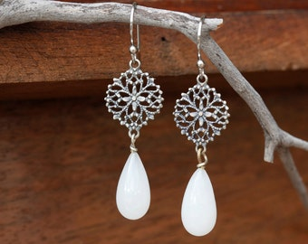 Filagree bridal earrings, milky white drop earrings, simple bridal jewelry