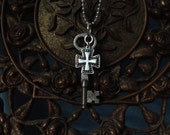 Cross and Vintage Skeleton Key Necklace