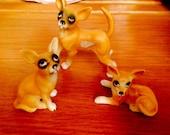 Three vintage miniature chihuahua dogs