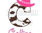 Personalized birthday cowgirl  themed iron on decal vinyl for shirt