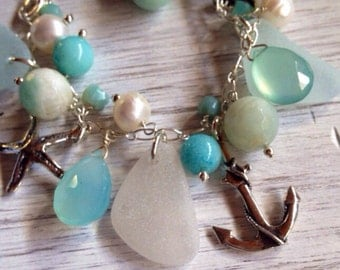 Sea Glass Charm Bracelet Bangle Bracelet Sterling Silver Soft Aqua Sea Glass Silver Anchor