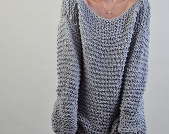 Simple is the best - Hand knitted sweater Eco cotton oversized light grey - ready to ship