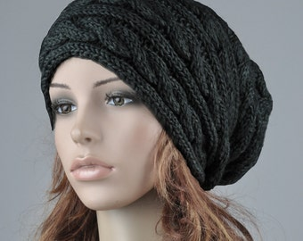 Hand knit hat wool woman winter hat Black cable slouchy hat
