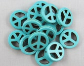 Blue Magnesite 15mm Peace Sign Beads - 14 pieces #M5