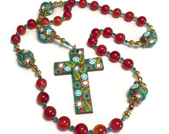 Fire Agate Anglican Rosary Prayer Beads Protestant Handmade Polymer Clay Focals Reversible Cross Canework Everything Else Religious