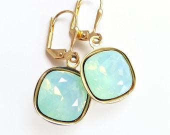 Mint Green Opal Crystal Earrings - Square Stone Earrings - Chrysolite Opal