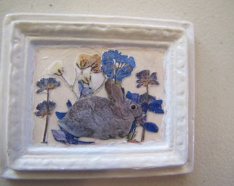 Dollhouse miniature picture of a rabbit and flowers decoupage in a porcelain frame