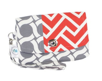 Organic Handmade Mini Clutch Gray Circles and Oarnge Chevron - Free Shipping