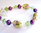 Wild Orchid Lampwork Glass Bracelet, Purple Green Ivory, Bali Sterling Silver Bracelet, Handmade Gift For Her, Ready to Ship