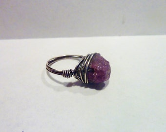 Raw Genuine Ruby Nugget and Sterling Silver Filled Wire Wrapped Ring
