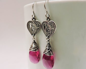 Valentine Sterling Silver Filigree Hearts with Your Choice of Swarovski Crystals