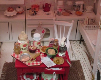 Apple Pie Prep Table for Fall-Dollhose Miniature 1:12 Scale