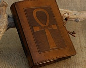 A6, Standard, Leather Bound Journal, Ankh Journal, Egyptian Journal, Brown Leather, Book of Shadows, Leather Notebook, Personalized Diary.
