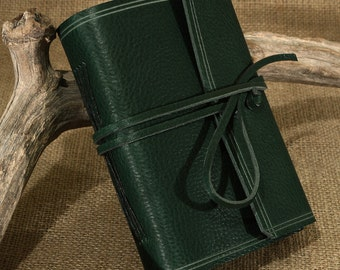 A6, Standard, Rugged Leather Journal, Leather Wraparound Journal, Travel Journal, Woodland Green Leather, Wrap Notebook, Personalised Diary.