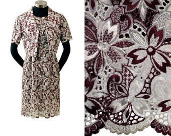 Vintage 60s Eyelet Dress Cutout Scalloped Sheath S