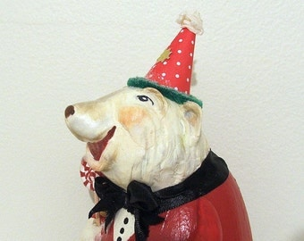 Christmas Polar Bear/Folk Art Bear/Christmas Bear Decoration